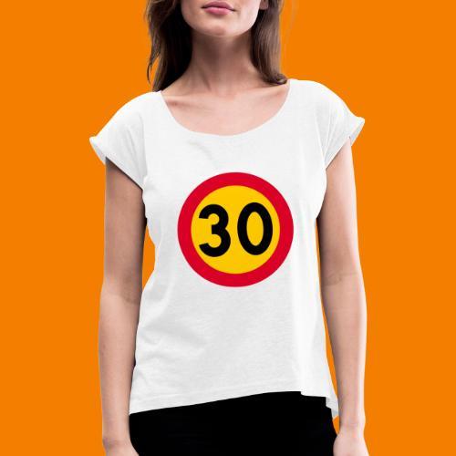 30 skylt - T-shirt med upprullade ärmar dam