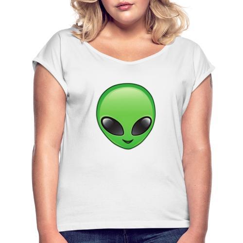 Alien face - T-shirt med upprullade ärmar dam