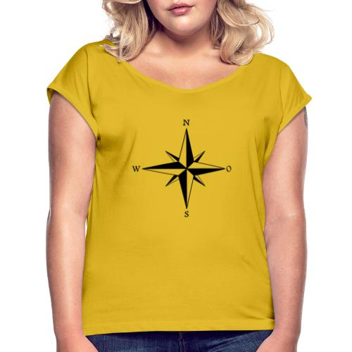 Kompas sort - Dame T-shirt med rulleærmer