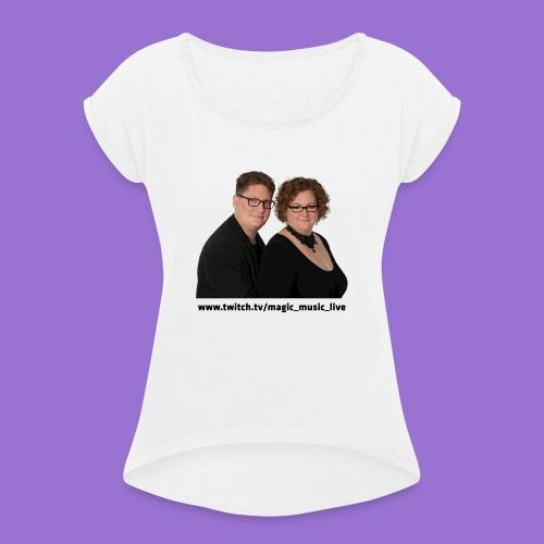Klara und Bernhard Portrait - Frauen T-Shirt mit gerollten Ärmeln