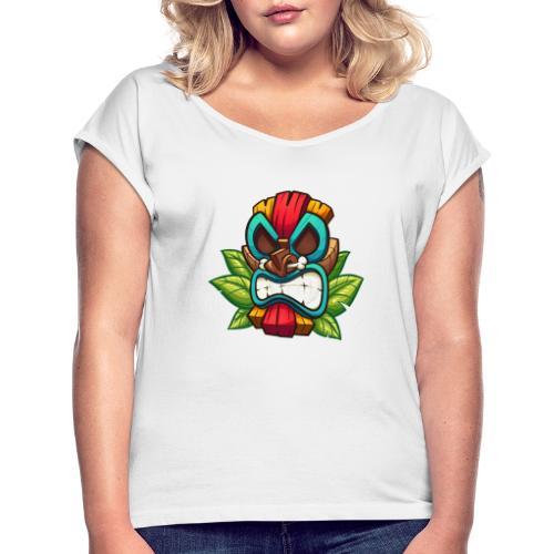 Tiki Mask Bone - Koszulka damska z lekko podwiniętymi rękawami