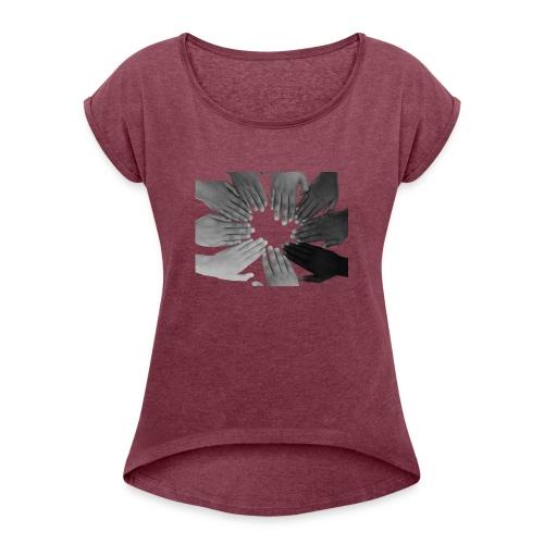 Ein Zeichen setzen - Frauen T-Shirt mit gerollten Ärmeln