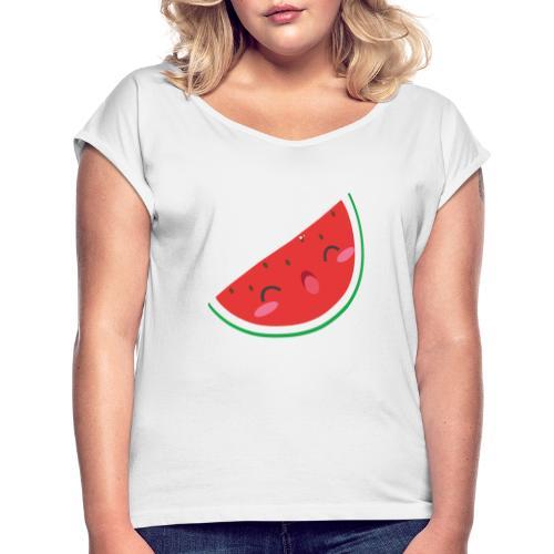 watermelon - Frauen T-Shirt mit gerollten Ärmeln