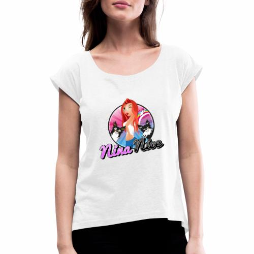 Nina Nice Logo - Frauen T-Shirt mit gerollten Ärmeln