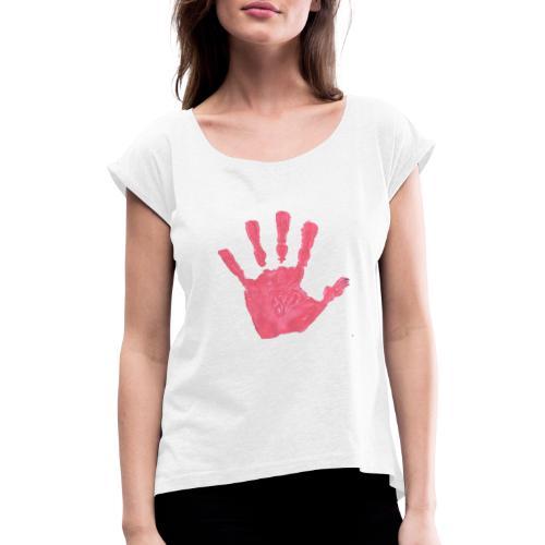 Hand - T-shirt med upprullade ärmar dam