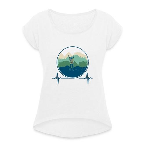 Outdoorklettern - Frauen T-Shirt mit gerollten Ärmeln