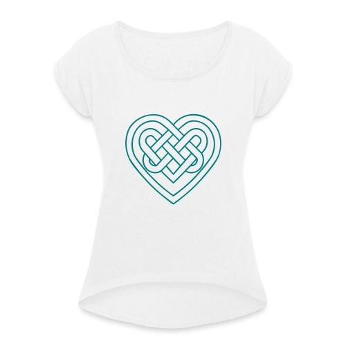 Keltisches Herz, Endlos Knoten, Liebe & Treue - Frauen T-Shirt mit gerollten Ärmeln