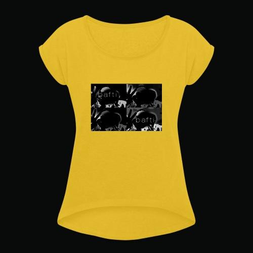 black bafti crew - Dame T-shirt med rulleærmer