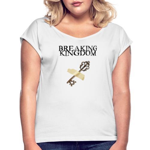 BK-Weißes-Design - Frauen T-Shirt mit gerollten Ärmeln