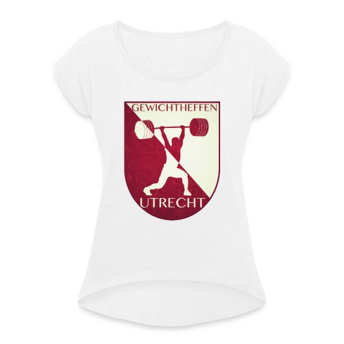Oldschool Logo - Vrouwen T-shirt met opgerolde mouwen