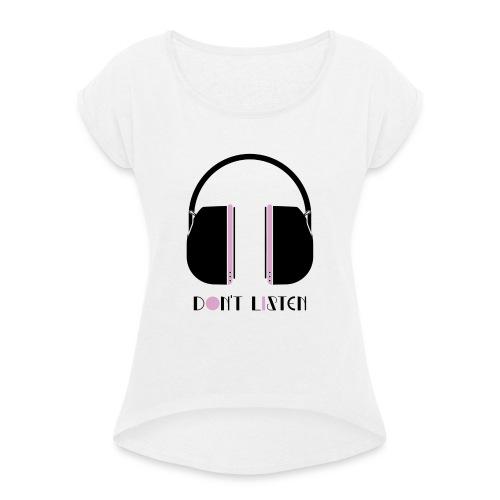 Don t Listen in Black and Lavender - T-shirt med upprullade ärmar dam