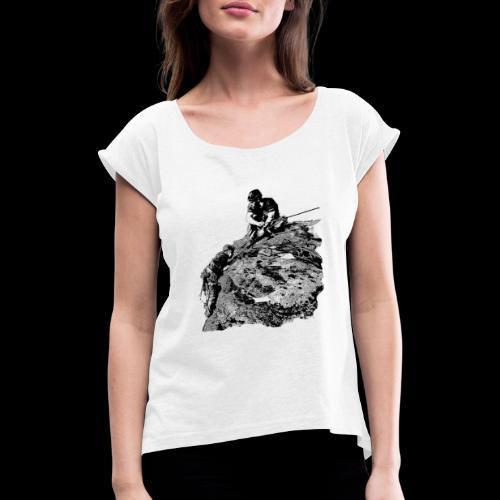 Ausstieg am Gipfel - Frauen T-Shirt mit gerollten Ärmeln