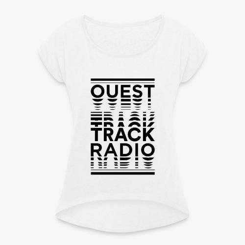 Logo Vertical Grand Noir - T-shirt à manches retroussées Femme