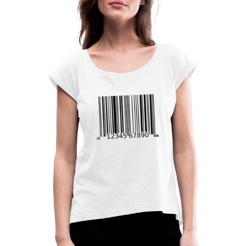 Barcode Tshirt ✅ Jetzt kaufen - Frauen T-Shirt mit gerollten Ärmeln