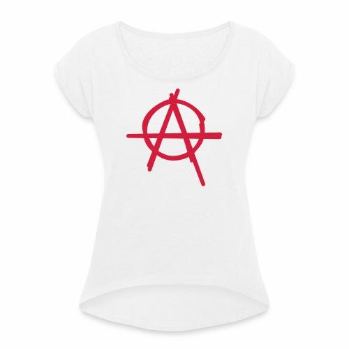 Anarchie Symbol Anarchy Zeichen Punk Logo A Icon - Frauen T-Shirt mit gerollten Ärmeln
