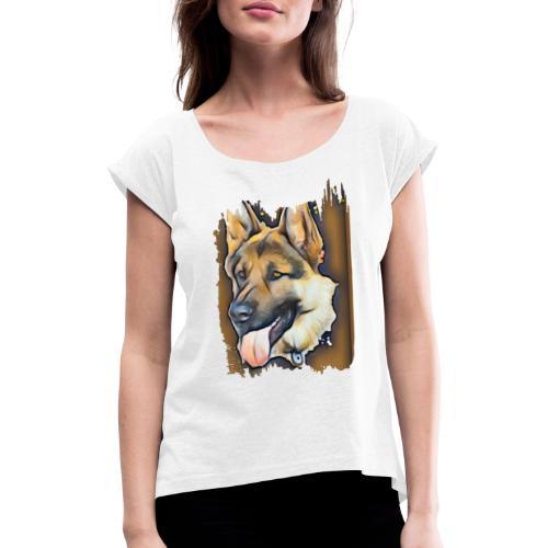 German Shepherd - Vrouwen T-shirt met opgerolde mouwen