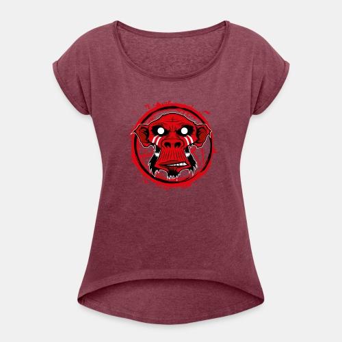 monkey-3 - Frauen T-Shirt mit gerollten Ärmeln