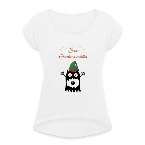 Calins de Noël - Christmas cuddels - T-shirt à manches retroussées Femme