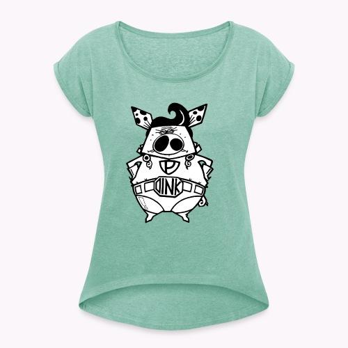 super oink - Maglietta da donna con risvolti