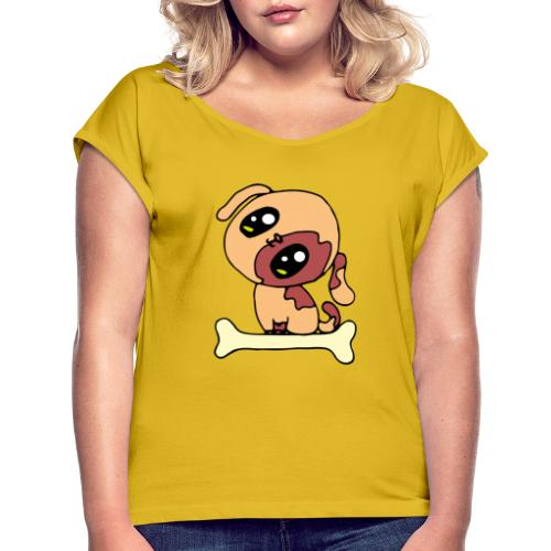 Kawaii le chien mignon - T-shirt à manches retroussées Femme