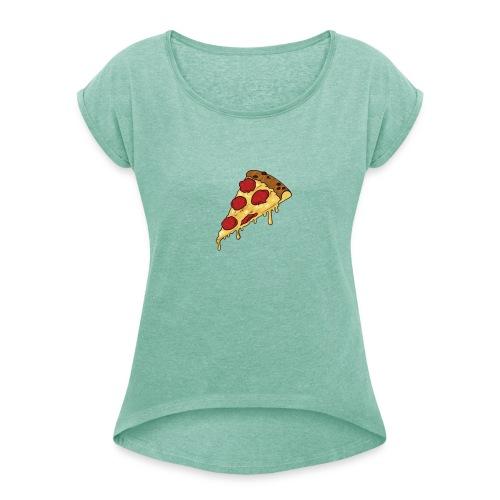 pizza design - Vrouwen T-shirt met opgerolde mouwen