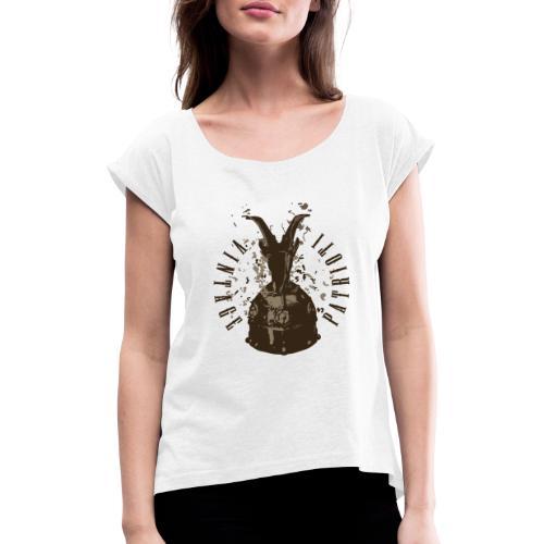 Patrioti Vintage Skenderbeg - Frauen T-Shirt mit gerollten Ärmeln