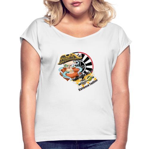 pirate of the estonian back - Frauen T-Shirt mit gerollten Ärmeln