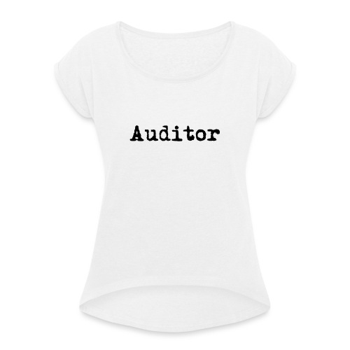 auditor typewriter black - Frauen T-Shirt mit gerollten Ärmeln