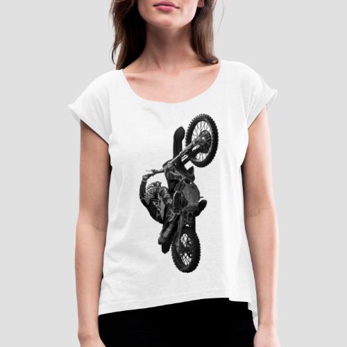 Motocross wheelie animation Gray - T-shirt med upprullade ärmar dam