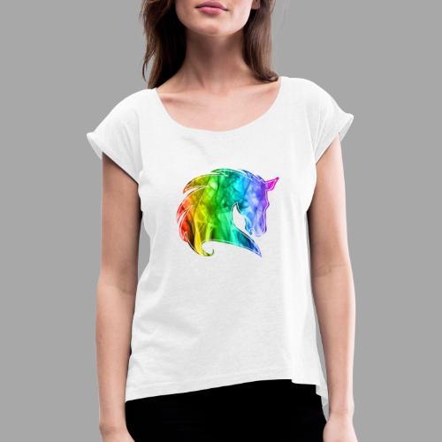 Rainbow Horse - Maglietta da donna con risvolti