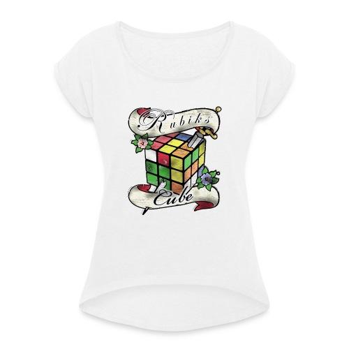 Rubik's Cube Tatoo - T-shirt med upprullade ärmar dam