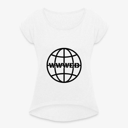 WWWeb (black) - Women's T-Shirt with rolled up sleeves