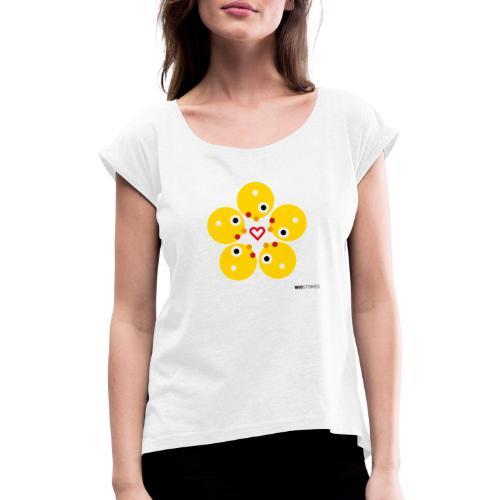 WIO LOVE - Camiseta con manga enrollada mujer