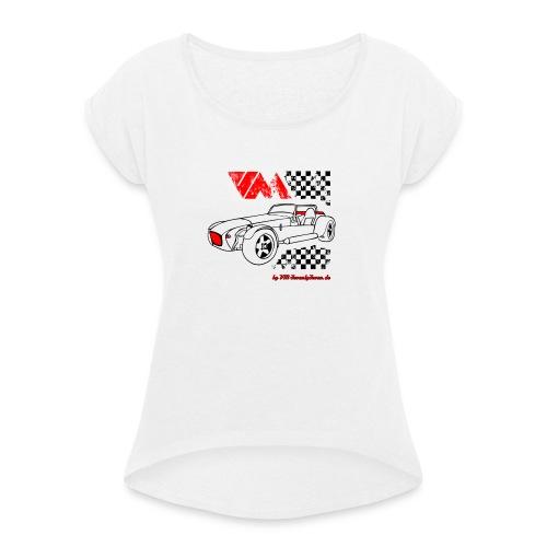 77 vm schwarz - Frauen T-Shirt mit gerollten Ärmeln