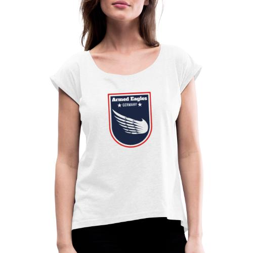 Armed Eagles com Logo B - Frauen T-Shirt mit gerollten Ärmeln