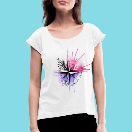 Kompass Watercolor - Tattoos by Lena - Frauen T-Shirt mit gerollten Ärmeln