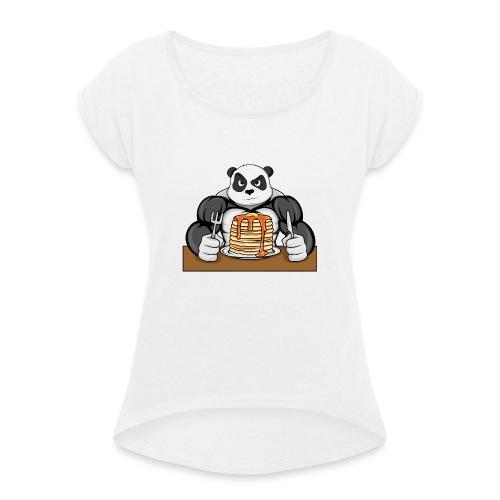 Fitness Panda eat Pancakes - Frauen T-Shirt mit gerollten Ärmeln