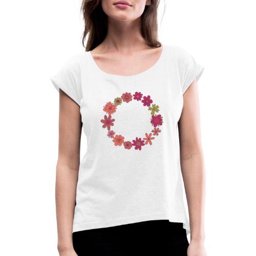 Flower Wreath - Camiseta con manga enrollada mujer