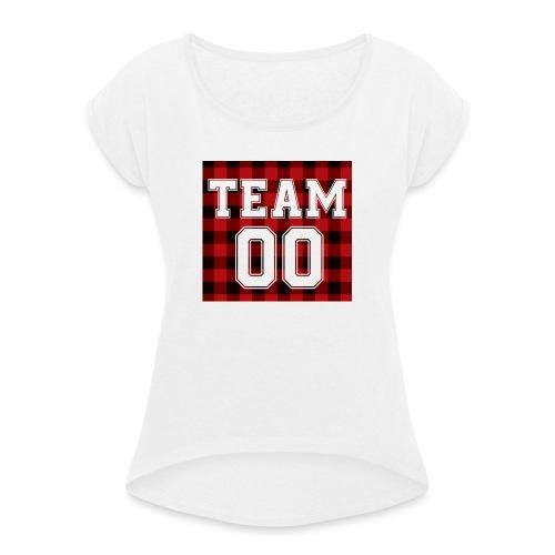 TEAM 00 T-shirt White - Vrouwen T-shirt met opgerolde mouwen