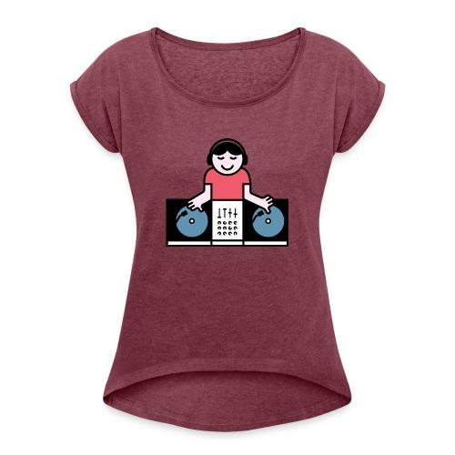 Vinyl DJ - Vrouwen T-shirt met opgerolde mouwen