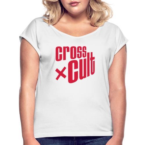 Cross Cult Logo Rot - Frauen T-Shirt mit gerollten Ärmeln