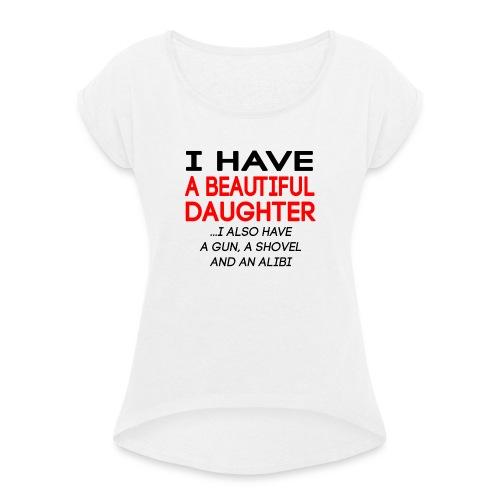 beautiful_daughter - T-skjorte med rulleermer for kvinner