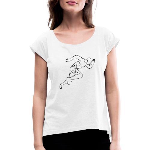 running_man - Frauen T-Shirt mit gerollten Ärmeln