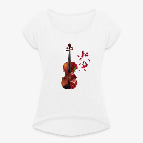 Rosen Violine - Frauen T-Shirt mit gerollten Ärmeln