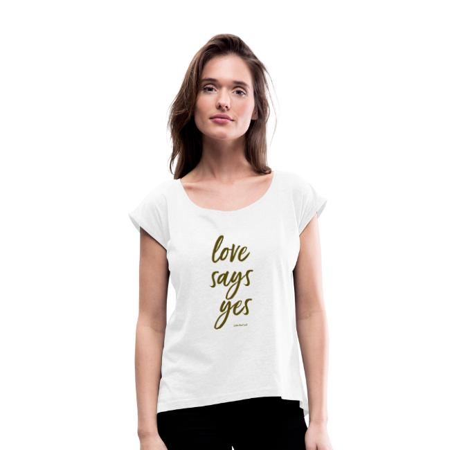 Love says yes diagonal gold