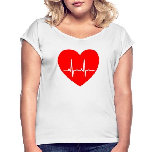 Corazón - Camiseta con manga enrollada mujer