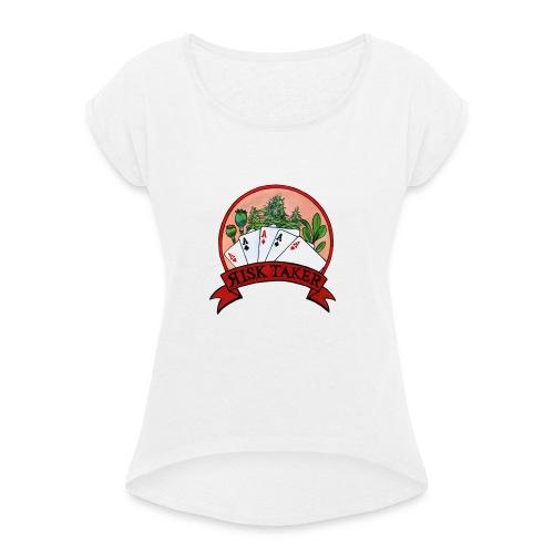 logo tshirt - Koszulka damska z lekko podwiniętymi rękawami
