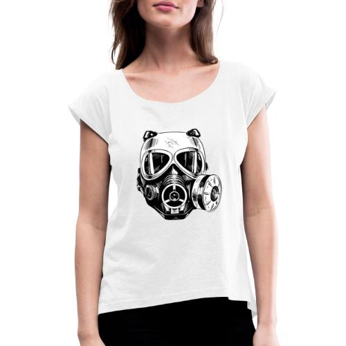 Gas Mask - Koszulka damska z lekko podwiniętymi rękawami