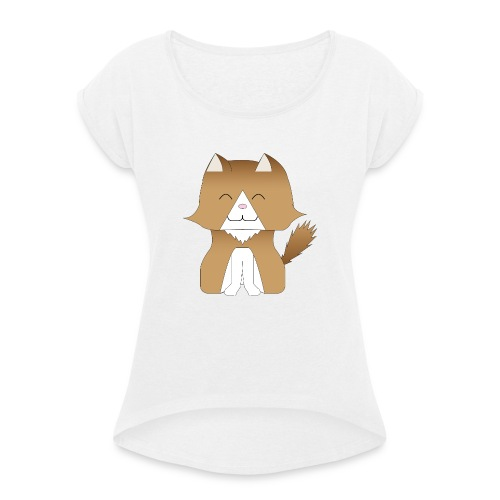 ra - Vrouwen T-shirt met opgerolde mouwen