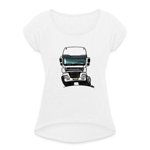 0810 D truck CF wit - Vrouwen T-shirt met opgerolde mouwen